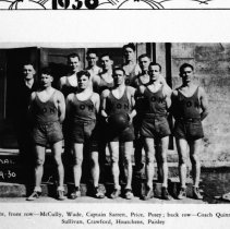 "Image of 1929-30 Basketball Team - ""1929-30 Normal"" Basketball Team ""Reading left to right, front row -- McCully, Wade, Captain Sarrett, Price, Posey; back row -- Coach [Bob] Quinn, Carden, Sullivan, Crawford, Houtchens, Paisley.""