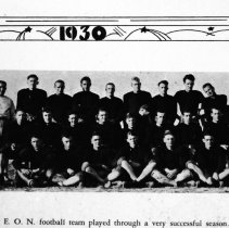 Image of 1929-30 Football Team - Coach Bob Quinn poses with the 1929-30 EONS football team.  [Photo appears in the 1930 EONS Catalog.]