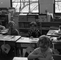 "Image of 1984 Ackerman Elementary Face Paint - ""January 1984 - Ackerman Students with Painted Faces"" - five images"