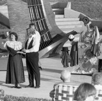 "Image of 1984 Theatre, Chautaqua 1-2 - ""July 1984 - Chautaqua""  Traveling to rural areas, Chautaqua brings entertainment to the EOSC campus with a performance in the outdoor Gronek Amphitheater."