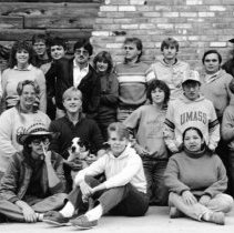 """Image of 1985 Student Activities Retreat, Group - """"10/1985 - Student Activities Retreat"""" - five images  .017-.019 - Yvonne Tagge (standing, right end)."""