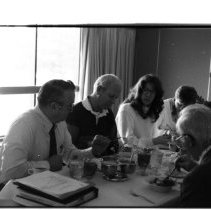 """Image of 1988 Foundation Luncheon - """"1988""""  Fourteen images taken during an EOSC Foundation luncheon.  .002 - Left side of table: Kelly Yenser (1st, in profile), Sally Wiens (2nd, in profile). Right side of table: Glen Bates (furthest away). .003 - Kelly Yenser (back to camera). .004 - Closest end of table: Sally Wiens (left, in profile). Other end of table, right side: Glen Bates (1st), Harry Hunt (2nd). Standing: Kelly Yenser. .005 - Glen Bates (left), Harry Hunt (right). .006 - Sally Wiens. .009 - Glen Bates. .010 - From left to right: Glen Bates (1st, in profile), Harry Hunt (2nd, in profile). .011 - From left to right: Kelly Yenser (in profile), Sally Wiens (in profile), Bill Hermann, Wilbur Osterloh (in profile). .013 - Kelly Yenser. .014 - Bill Hermann. .015 - Wilbur Osterloh. .018 - From left to right: Glen Bates (1st, in profile), Harry Hunt (2nd, in profile)."""