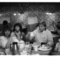 "Image of 1988 Students, Restaurants - ""1988""  Three images of students in restaurants."