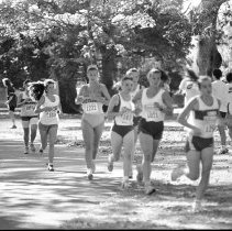 """Image of 1991 Cross Country Running 2-1 - """"10/5/1991 - Cross Country Willamette Invitational at Treasure Valley: Dawn Cubbes"""""""
