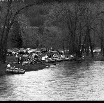 """Image of 1991 Raft Race Start - """"May 11, 1991 - Raft Race""""   Eleven images of the starting point for the Raft Race in Hilgard Park."""