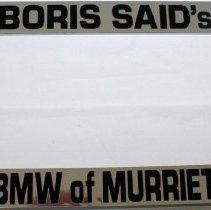 Image of Boris Said's BMW of Murrieta license plate frame