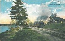 Image of Postcard, Amoskeag Station, showing the Merrimac River, Manchester, N.H. - 1950.062.148