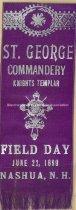 Image of Badge, St. George Commandery - Knights Templar - Field Day - June 22, 1899 - Nashua, N.H. - 1955.009.004