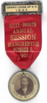 Image of Badge - Grand Lodge of N.H. - I.O.O.F. - Sixty-Fourth Annual Session - Manchester, 1907 - 1957.018.006