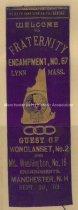 Image of Odd Fellows Ribbon - Fraternity Encampment No. 67, Lynn, Mass., 1902 - 1957.018.025