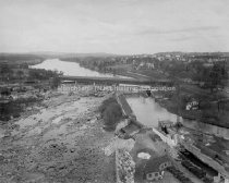 Image of View of the Amoskeag Falls Covered Bridge and Merrimack River - 1959-010-001-A