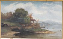 Image of Oil landscape of lake with shelter and boats