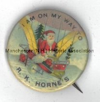 """Image of Button, """"I Am On My Way to R. C. Horne's"""" - 1963.009.007"""
