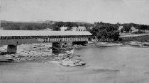 Image of Amoskeag Falls Covered Bridge looking south west - circa 1860's. - 1966.009.002