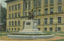 Image of Postcard, Lincoln Monument and High School, Manchester, N.H. - 1973.060.002.7