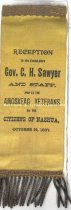 Image of Badge - Reception to Gov. Sawyer and Amoskeag Veterans, 1887 - 1973.513.005