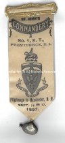 Image of Badge, St. John's Commandery No. 1 K. T. Providence, R.I. - Pilgrimage to Manchester, N.H., 1897 - 1973.546.002
