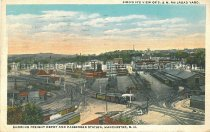 Image of Postcard, Bird's Eye view of B&M Railroad Yard, Showing Freight Depot and Passenger Station, Manchester, N.H. - 1974.214.015