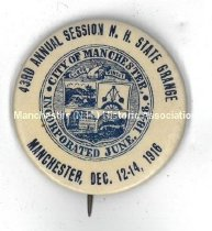Image of N.H. State Grange 43rd Annual Session Pin, Manchester, 1916 - 1975.103.010