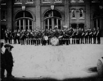 Image of Group Portrait— Manchester Fire Department Brass Band, Central Fire Station, Vine Street - 1976.106.008
