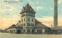Image of Postcard, Boston and Maine Railroad Station, Manchester, NH - 1977.115.004