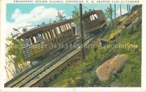 Image of Postcard, Uncanoonuc Incline Railway, Goffstown, N.H., Showing Cards At Turnout - 1978.118.006