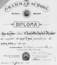 Image of Diploma of Charlotte Isabel Parker from Manchester, N.H. grammar school - 1980.049.179