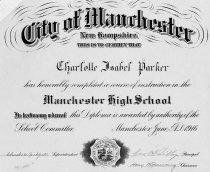 Image of Diploma of Charlotte Isabel Parker from Manchester [N.H.] High School, - 1980.049.180