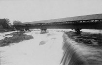 Image of Amoskeag Falls Covered Bridge and Falls - 1980.079.001