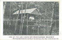 Image of Postcard, One of the Log Cabins on UN-CA-NOO-NUC Mountain - 1980.129.003