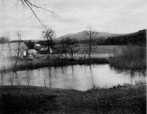 Image of Farm Pond with Uncanoonuc Mountain - 1910. - 1982.512.004