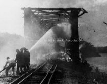 Image of Kelley's Falls Railroad Bridge Fire, North Weare Railroad - 1982.056.001