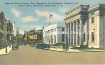 Image of Postcard, Hanover Street showing New Hampshire Fire Insurance Company and United States Post Office, Manchester, N.H. - 1984.100.002