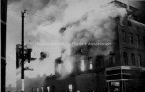 Image of Rimmon Block Fire, 1208-1252 Elm Street.  North West Corner of Bridge and Elm Streets - 1986.083A.009
