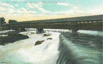 Image of Postcard, Amoskeag Falls and Bridge, Manchester, NH - 1986.059L.001