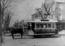 Image of Copy Photo— First Horse Drawn Trolley, Elm Street - 1987.061L.003