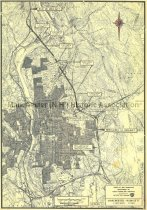 Image of Map of Greater Manchester showing the proposed route of Interstate 93 - 1993.020.060
