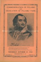 Image of Commemoration of Pulaski and Dedication of Pulaski Park [program] / [by] Pulaski Park Committee - 2000.L008.002