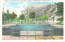 Image of Postcard, Municipal Swimming Pool with Rock Rimmon in Background, Manchester, N.H. - 2005.L019.017