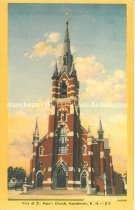 Image of Postcard, View of St. Mary's Church (Ste. Marie's Church), Manchester, N.H. - 2010.L009.011.1