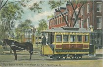 Image of Postcard, Rapid Transit in 1877 - First Horse Car fun in Manchester, N.H. - 2011.067.014