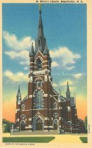Image of Postcard, St. Mary's Church (Ste. Marie's Church), Manchester, NH - 2012.514.004