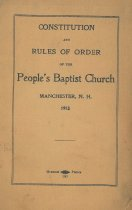 Image of Constitution and Rules of Order of the People's Baptist Church Manchester, N.H. - 2015.502.001
