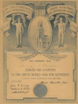 Image of George S. Foster's Certificate of Service in WWI - 8036