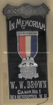 Image of Badge - In Memoriam - W.W. Brown Camp No. 1, Manchester, N.H. - 1973.510.004