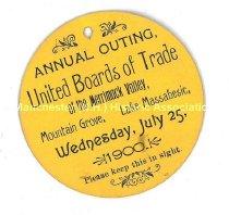 Image of United Boards of Trade Outing Badge - Lake Massabesic, 1900  - 1977.156.051
