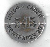 Image of Union-Leader Newspaper Boy Badge # 545 - 1981.145.075