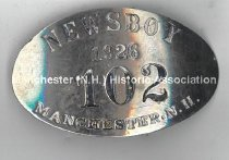 Image of Newsboy Badge # 102 - Manchester, N.H., 1926 - 1981.145.076
