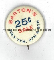 Image of Button - Barton's 25 cent Sale  - 2010.600.009