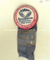 Image of American Canadian Snowshoe Unions Annual Convention & Carnival Badge, 1927  - 2010.600.018